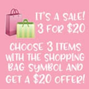 3 for $20 Sale!  Choose 3 with 🛍 for a $20 offer!